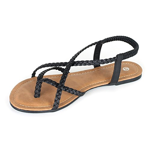 ANNA Womens Braided Strappy Gladiator Flat Sandal Y-Strap Thing Flip Flop Sandals Black Qx09DQkEVy