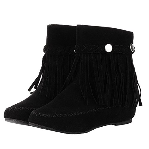 lacencn Women's Closed Round Toe Grind Arenaceous Increased Internal Solid Boots With Tassel Black5.5 B(M) - Esquire Canada