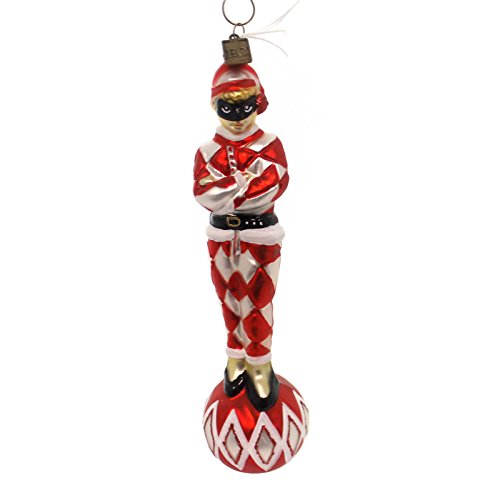 Holiday Ornament HARLEQUIN RED/WHITE Glass Halloween Mask Diamond