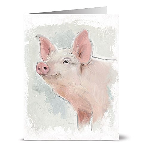 Sheep Note - Painted Pig - 36 Note Cards - Blank Cards - Off White Ivory Envelopes Included