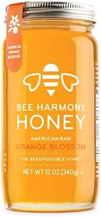 Bee Harmony American Raw Orange Blossom Honey, 12 Ounce