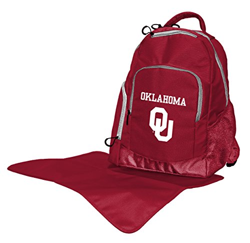 Wild Sports NCAA College Oklahoma Sooners Diaper Backpack, 17 x 13.5 x 7-Inch, Red