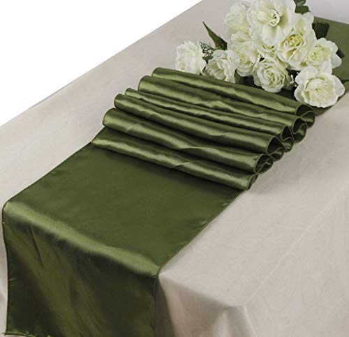 mds Pack of 10 Wedding 12 x 108 inch Satin Table Runner for Wedding Banquet Decoration- Olive Green