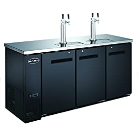 UDD-24-72 Black Kegerator / Beer Dispenser with 2 Tap Towers – (3) 1/...