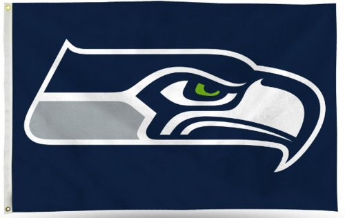 Rico NFL Seattle Seahawks 3-Foot by 5-Foot Single Sided Banner Flag with Grommets -