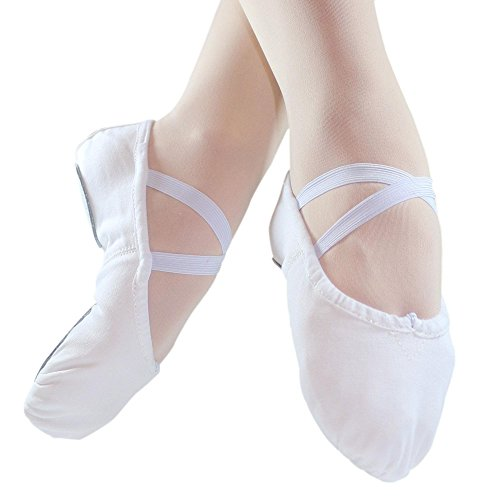 Danzcue Ballet White Sole Canvas Slipper Split Adult rqICxwUAr