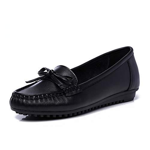 FLYRCX Zapatos sin Mangas Antideslizantes cómodos cómodos Zapatos Planos de la cuña black