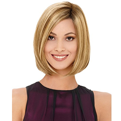QianBaiHui Blonde Bob Wigs for White Women - Short Straight Hair Wig Natural Looking Synthetic Fashion