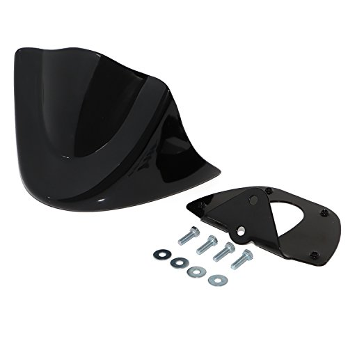 (Senkauto Front Chin Spoiler Air Dam Fairing Cover Mounting Bracket for Harley Dyna StreetBob FatBob Wide Glide 1999-2017 (2006-2017, Vivid Black))