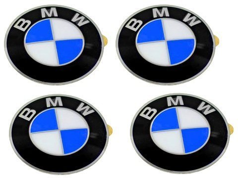 BMW Wheel Center Cap Emblems (4) OEM 64.5mm E46 E60 E90 E92; 36136767550 ()