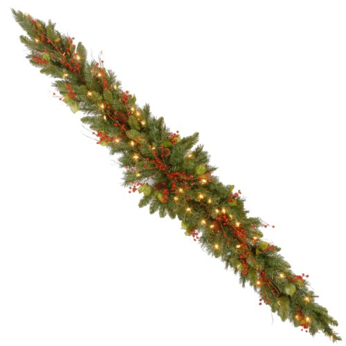 National Tree 6 Foot Classical Collection Mantel Swag with Cones, Holly Leaves, Red Berries and 50 Clear Lights -