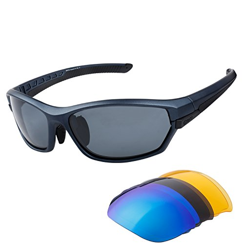 Duco Polarised Sports Mens Sunglasses for Ski Driving Golf Running Cycling Tr90 Superlight Frame With 3 Interchangeable Lenses - Driving Best Polarised For Sunglasses