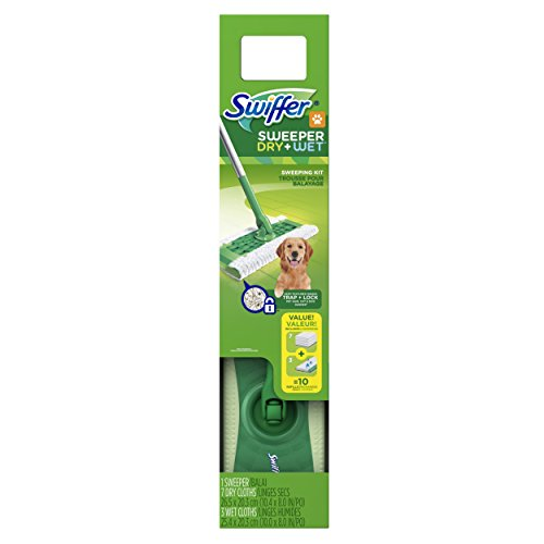 Swiffer Sweeper Dry + Wet Sweeping Kit (1 Sweeper, 7 Dry Cloths, 3 Wet Cloths), 1 Count