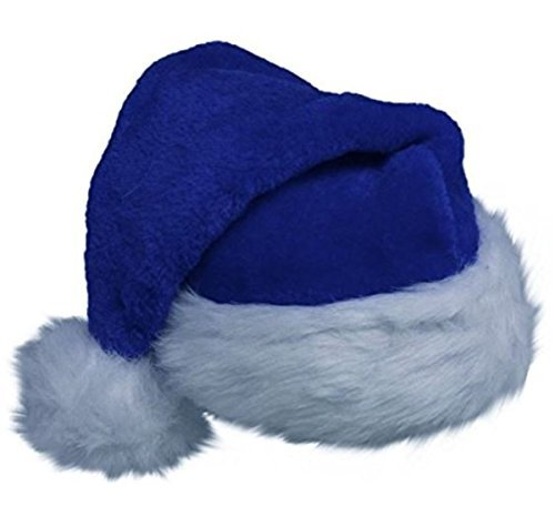 Amscan Blue Plush Santa Hat Adult Plush Santa Hat