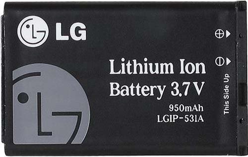 LG LGIP-531A/SBPL0090503 Original Battery KU250 Saber UN200 - Non-Retail Packaging - Black LGIP-531A / SBPL0090503 / SBPL0090501