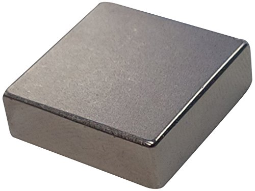 Eclipse Magnetics N153 Neodymium Rare Earth Block Magnet, Nickel Plated, 1' Length x 1' Width x 1/2' Thickness
