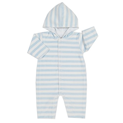 - Kissy Kissy Baby Boys Mini Pets Velour Stripe Hooded Playsuit - Lt Blue-0-3mos