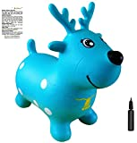 AppleRound Teal Reindeer Bouncer with Hand Pump, Inflatable Space Hopper, Ride-on Bouncy Animal