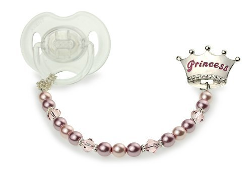 (Swarovski Pink Simulated Pearls and Crystals Hand Crafted Enamel Crown Sterling Silver Girl Princess Pacifier Clip)
