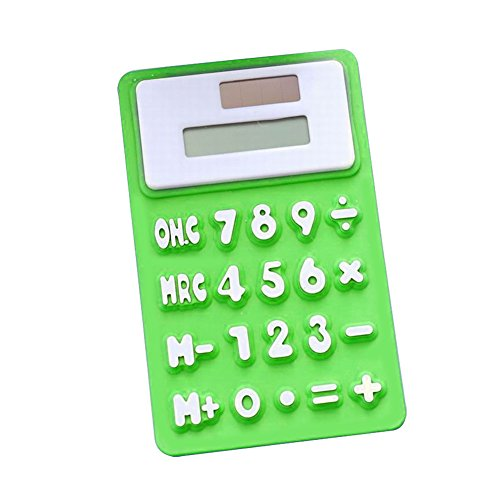 Energía Solar plegable de silicona tacto suave calculadora para estudiante escuela, oficina, Verde, Una talla