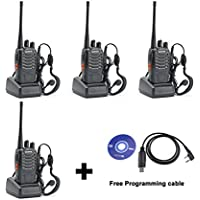 4 Pack BaoFeng BF-888S Two-Way Ham Radio, UHF 400-470 MHz Portable Handheld FM Transceiver+Free USB Programming cable