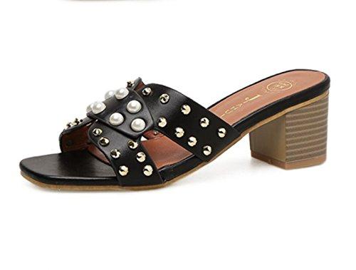 Women New Chunky Heel Shoes Fashion Rivets Open Toe Pearl Sandals Black