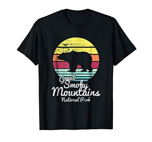 Retro Great Smoky Mountains National Park TN Bear T Shirt