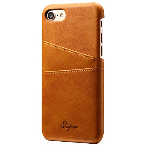 Iphone 7 Wallet Phone Case  Slim Leather Back Case Cover With Credit Card Holder Khaki Case