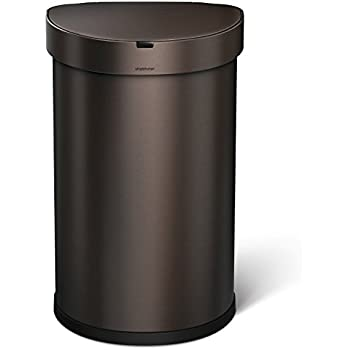 simplehuman 45 Liter / 12 Gallon Stainless Steel Semi-Round Sensor Can, Touchless Automatic Trash Can, Dark Bronze Stainless Steel