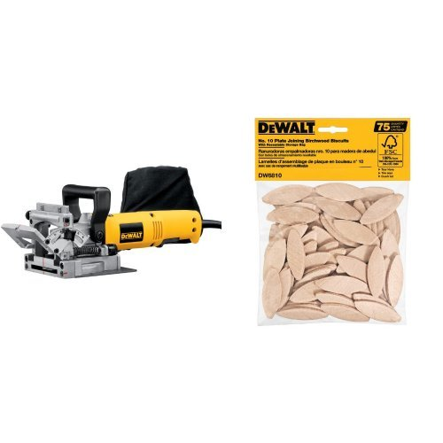 DEWALT DW682K 6.5 Amp Plate Joiner with No. 10 Size Joining Biscuits (75 Pieces)