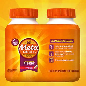 Metamucil Fiber Therapy for Regularity, Fiber Supplement, 340 Capsules