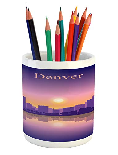 Ambesonne Denver Pencil Pen Holder, Dramatic Colorado Sunset Sky Scenery from South Platte River USA Panorama, Printed Ceramic Pencil Pen Holder for Desk Office Accessory, Purple Pink Apricot (Bars Denver Patio)