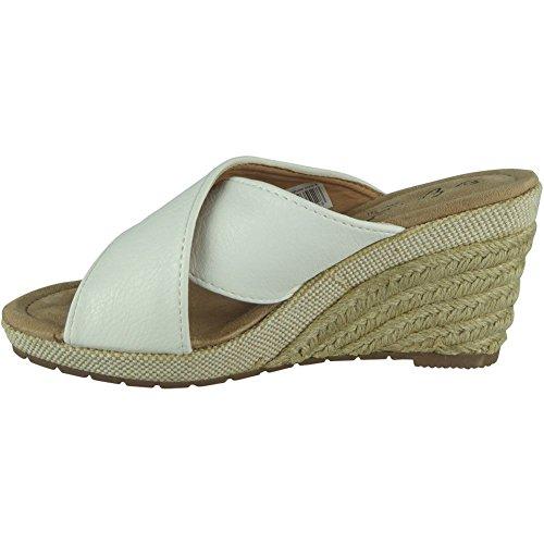 Loud Look Womens Slip On Wedges Ladies Espadrilles Comfy Casual High Heel Wedge Shoes Size 3-8 White vpGcqywUNu