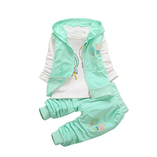 Keepfit Toddler Baby Girls Sweet Lolly T-shirt+Hooded Waistcoat+Pants Outfits Clothes (24M, Green)