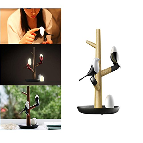 LED Night Lights Wooden Tray Jewelry&Key Stand, USB Rechargeable Human Infrared Smart Sensor Optically Controlled Table Lamp Nursery Room Wall Magnetic Atmosphere Decorative Light Bird Design (birds) Mounted Bird Table