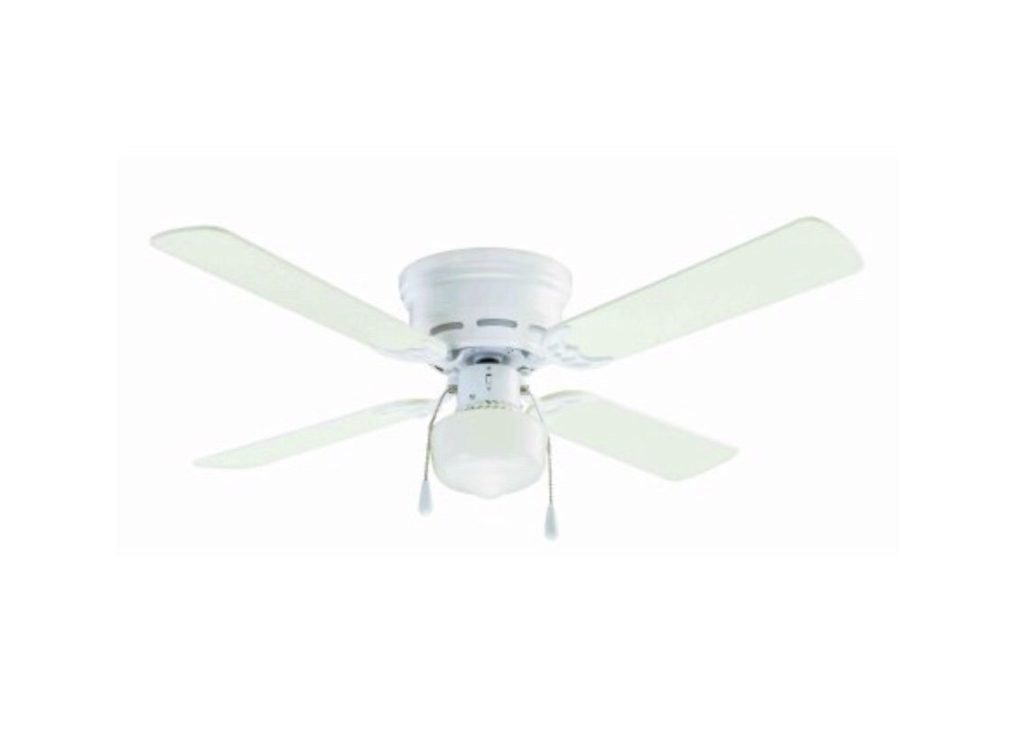 42'' Mainstays Hugger Indoor Ceiling Fan with Light, White