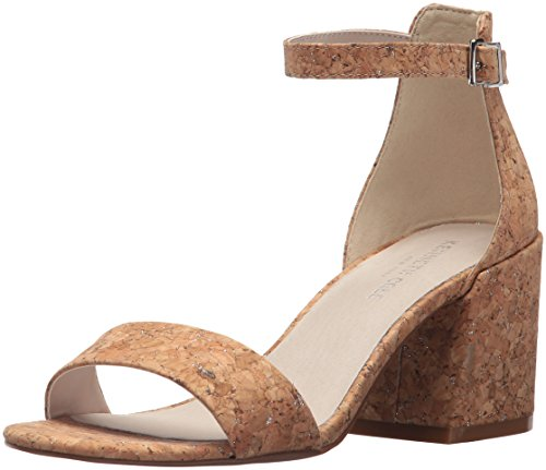 Heels Cork - Kenneth Cole New York Women's Hannon Block Heeled Sandal with Ankle Strap, Natural/Silver 8 M US