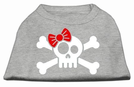 Mirage Pet Products Skull Crossbone Bow Screen Print Shirt, X-Large, Grey