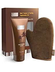 Self Tanner & Tanning Application Kit, Anjou Bundle of Dye-Free Natural Sunless Tanning Lotion, 7.8 oz, Application Mitt with Thumb, Body and Face Applicator Glove for Bronzing and Golden Tan