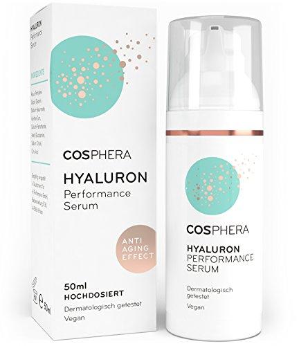 Cosphera - Hyaluron Performance Serum hochdosiert 50 ml - Hyaluronsäure Konzentrat Gel für Gesicht, Hals, Dekolleté und Augen - Vegane Anti-Falten Feuchtigkeitsbehandlung für Frauen und Männer