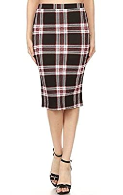 Jersey Glam Red Black Gray Plaid Skirt High Waist Holiday Midi Stretch Pencil