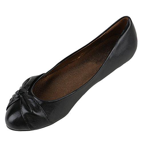 Stiefelparadies Klassische Damen Ballerinas Metallic Glitzer Flats Bequeme Slipper Ballerina Schuhe Lack Spitze Camouflage Schleifen Flandell Gold Schwarz