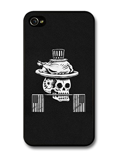 American Thanksgiving Turkey and Skull USA Flags in Black and White coque pour iPhone 4 4S