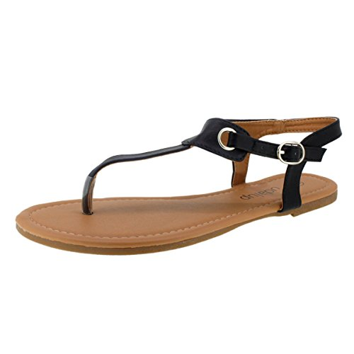 Sandalup Women's Claire Thong Flat Sandals with Buckle Black Size (Sandals Women Thong)