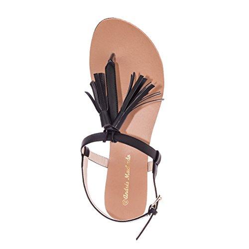 Andres Machado. AM5145.Sandalias en Soft.Mujer.Tallas Pequeñas/Grandes. 32/35-42/45. Negro