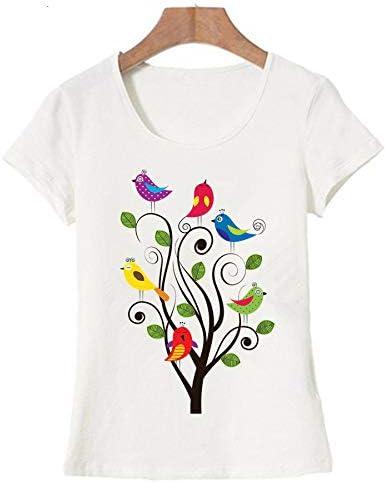 ZCYTIM Impresión de Aves Animal Camiseta de Las Mujeres del Verano Lindo Divertido Camiseta de Manga Corta Tops Harajuku Marca Ropa Camiseta: Amazon.es: Deportes y aire libre