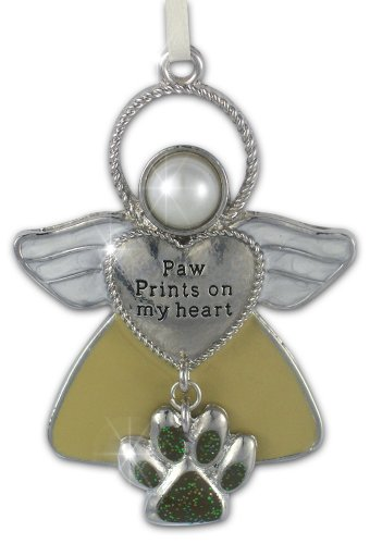 Pet Remembrance Angel Ornament - Paw Prints on My Heart -...