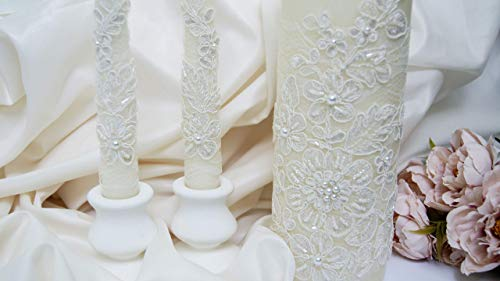 Unity Candle Pearl (Ivory lace wedding unity candle set for ceremony with pearls)