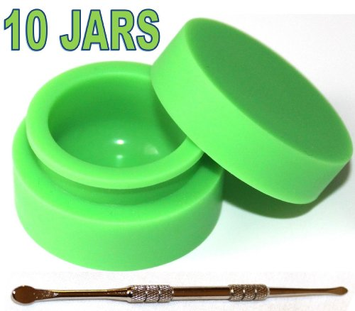 10-x-Non-stick-Jar-Storage-Silicone-Container-Matte-outside-Shiny-round-inside-food-grade-GREEN-Color-TitanOwl-Carving-Tool-non-stick-Heat-resistant