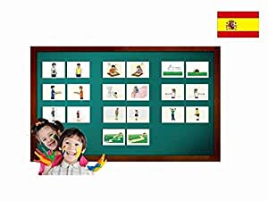 Tarjetas de vocabulario -Adjetivo Set 1 - Adjectives Picture Cards in Spanish - Vocabulary Picture Cards for Toddlers, Kids, Children, Adults and Beginners